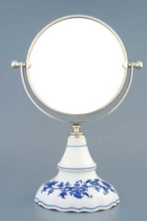 Český porcelán, a.s., Dubí Zrcadlo kulaté otočné ve stříbrném rámu  700 g, 2 části,  cibulák, Český porcelán