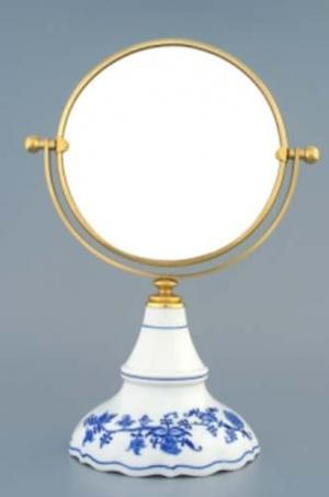 Český porcelán, a.s., Dubí Zrcadlo kulaté otočné ve zlatém rámu  700 g, 2 části,  cibulák, Český porcelán