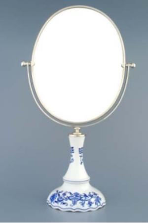 Český porcelán, a.s., Dubí Zrcadlo oválné otočné oválné ve stříbrném rámu  960 g, 2 části,  cibulák, Český porcelán