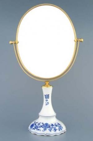Český porcelán, a.s., Dubí Zrcadlo oválné otočné ve zlatém rámu   960 g, 2 části,  cibulák, Český porcelán