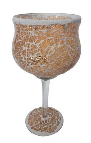 Champagne sklenený svietnik na nohe Mosaik - Ø 11 * 25 cm