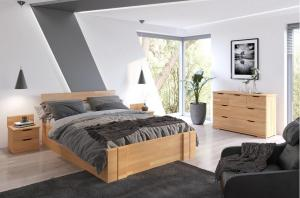 CHROB Masívna posteľ Arhus buk s úložným priestorom - orech Plocha na spanie:: 120 x 200 cm