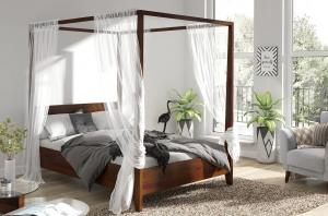 CHROB Masívna posteľ s baldachýnom Canopy borovica - orech Plocha na spanie:: 160 x 200 cm