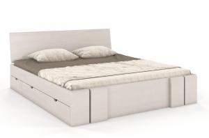 CHROB Masívna posteľ s úložným priestorom Vestre borovica - biela Plocha na spanie:: 160 x 200 cm