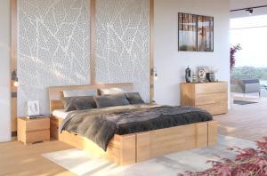 CHROB Masívna posteľ s úložným priestorom Vestre buk - orech Plocha na spanie:: 120 x 200 cm