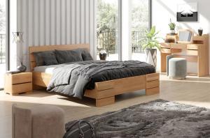 CHROB Masívna posteľ Sandemo High buk - orech Plocha na spanie:: 90 x 200 cm