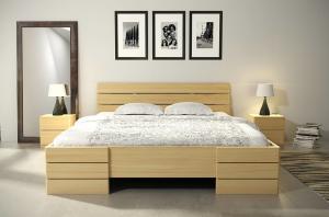 CHROB Masívna posteľ Sandemo High z borovice - prírodná Plocha na spanie:: 120 x 200 cm