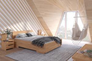 CHROB Posteľ s úložným priestorom Bergman High buk - biela Plocha na spanie:: 120 x 200 cm