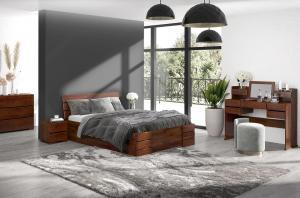 CHROB Posteľ z masívu Sandemo borovica s úložným priestorom - palisander Plocha na spanie:: 160 x 200 cm
