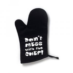 Čierna bavlnená kuchynská rukavica Cooksmart ® Don't Mess With The Chef
