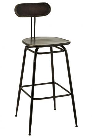 Čierna kovová barová stolička s opierkou Industrial - 45 * 46 * 104cm