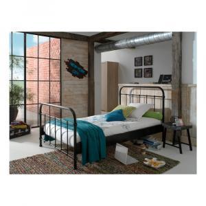 Čierna kovová detská posteľ Vipack New York, 120 × 200 cm