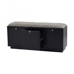 Čierna lavica s úložným priestorom a so sivým sedadlom Rowico Confetti, šírka 106 cm