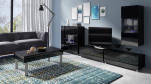 Čierna obývacia stena s komodou Duos