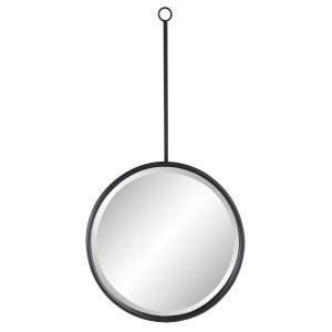 Čierne okrúhle kovové nástenné zrkadlo - Ø 40 * 3 * 77 cm