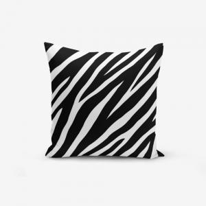 Čierno-biela obliečka na vankúš s prímesou bavlny Minimalist Cushion Covers Zebra, 45 × 45 cm