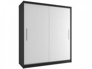 Čierno-biela šatníková skriňa Casey 158 cm