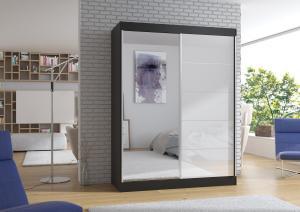 Čierno-biela skriňa s veľkým zrkadlom 150 cm Sintra