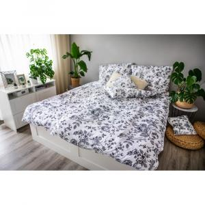 Čierno-biele obliečky z bavlneného saténu Cotton House Flower, 140 x 200 cm