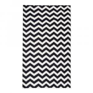 Čierno-biely behúň Floorita Optical Black White, 80×130cm