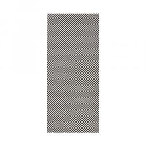 Čierno-biely koberec vhodný do exteriéru Bougara Karo, 80 x 150 cm