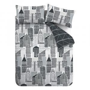 Čierno-sivé obliečky Catherine Lansfield Citylife, 135 x 200 cm