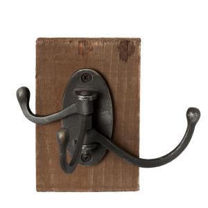 Čierny kovový háčik s drevenou doskou - 8 * 12 * 13 cm