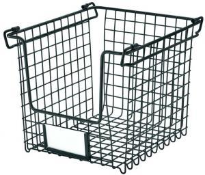 Čierny kovový košík iDesign Classico, 25,5 x 22 cm