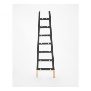 Čierny odkladacie dekoratívne rebrík z borovicového dreva Surdic Negro