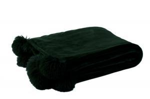 Čierny plyšový pléd PomPom s brmbolcami - 130 * 170cm