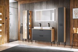 COM Kúpeľňová zostava MADERA Madera Grey: Skrinka pod umyvadlo 854 - 120 cm
