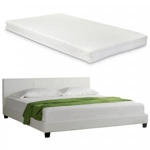 Corium® Moderná manželská posteľ - Barcelona - s matracom - biela - 160 x 200 cm