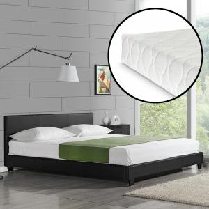 Corium® Moderná manželská posteľ - Barcelona - s matracom - čierna - 160 x 200 cm