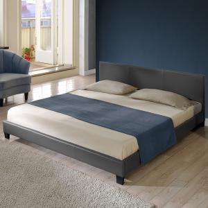 Corium® Moderná manželská posteľ, čalúnená - koženka 140x200cm (tmavo sivá)