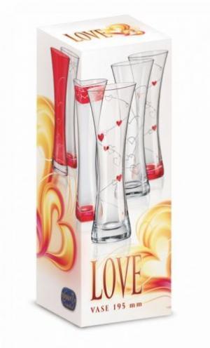 Crystalex Skleněná váza LOVE 195 mm