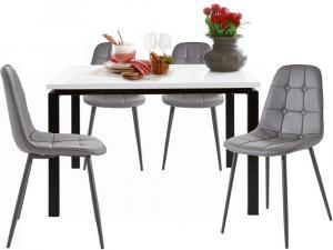 Danish Style Jedálenská súprava Silve, 4 + 1, 120 cm, sivá/biela