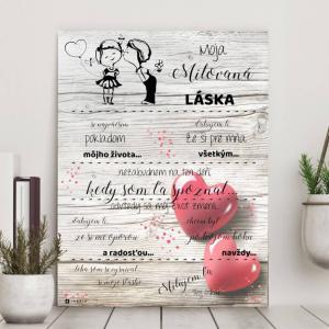 Darček na Valentína - Vyznanie lásky pre ženu - personalizovaný obraz