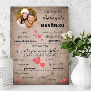 Darčeky pre ženu - Zamilovaný obraz s fotkou pre vašu manželku