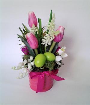dekorácia z tulipánov 12 x 25 cm