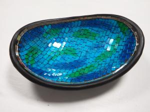 Dekoračná misa oval - modrá 35 cm, ručná práca