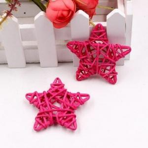 Dekoračné ratanové hviezdičky 5 ks Farba: fialová