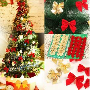 Dekoračné vianočné mašle - 12 ks Farba: zlatá
