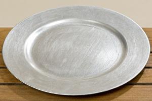 Dekoračný tanier, strieborný