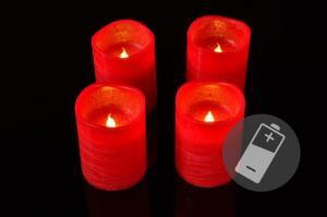 Dekoratívna sada - 4 adventné LED sviečky, červené