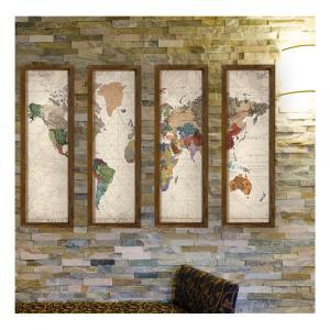 Dekoratívny viacdielny obraz World, 19×70 cm