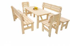 DEOKORK Masívna drevená záhradná zostava z borovice 1 6 drevo 32 mm (150 cm)