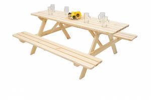 DEOKORK Masívny drevený pivný set z borovice 200 cm hrúbka 45 mm