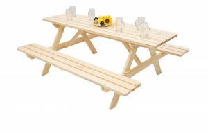 DEOKORK Masívny drevený pivný set z borovice 250 cm hrúbka 45 mm