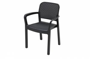 DEOKORK Záhradná plastová stolička KARA (antracit)