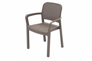 DEOKORK Záhradná plastová stolička KARA (cappuccino)
